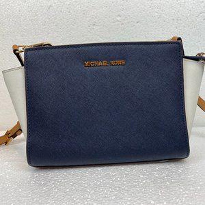 Michael Kors Selma Messenger Bag Blue White Brown